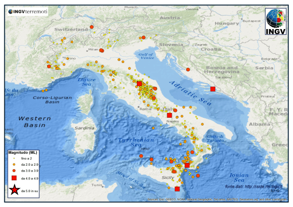 La mappa dei terremoti in Italia nel mese di dicembre 2013 elaborata dall'Istituto Nazionale di Geofisica e Vulcanologia