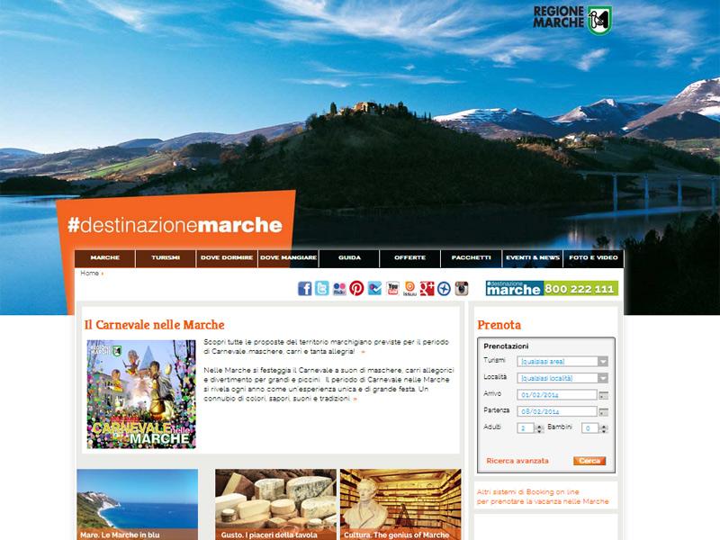 home page del portale turistico delle Marche