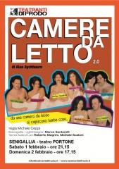"""Locandina della commedia """"Camere da letto"""" di Alan Ayckbourn al teatro Portone di Senigallia"""