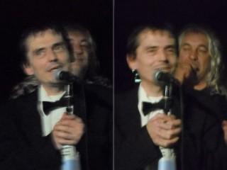 Roberto Freak Antoni durante la serata a Senigallia, presso la sede dell'associazione Confluenze