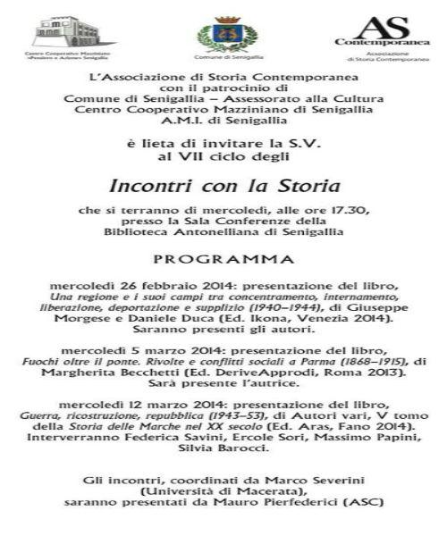 """""""Incontri con la Storia"""", 2014, manifesto"""