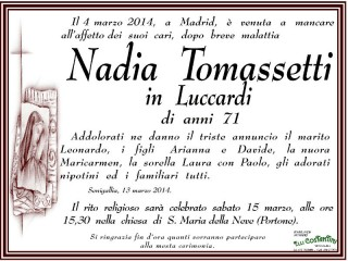 adia Tomassetti, necrologio