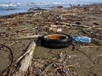 Rifiuti in spiaggia: la ruota di un'auto