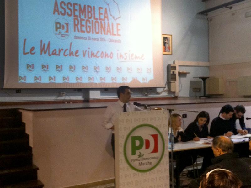 assemblea regionale Partito Democratico delle Marche: discorso del segretario Francesco Comi