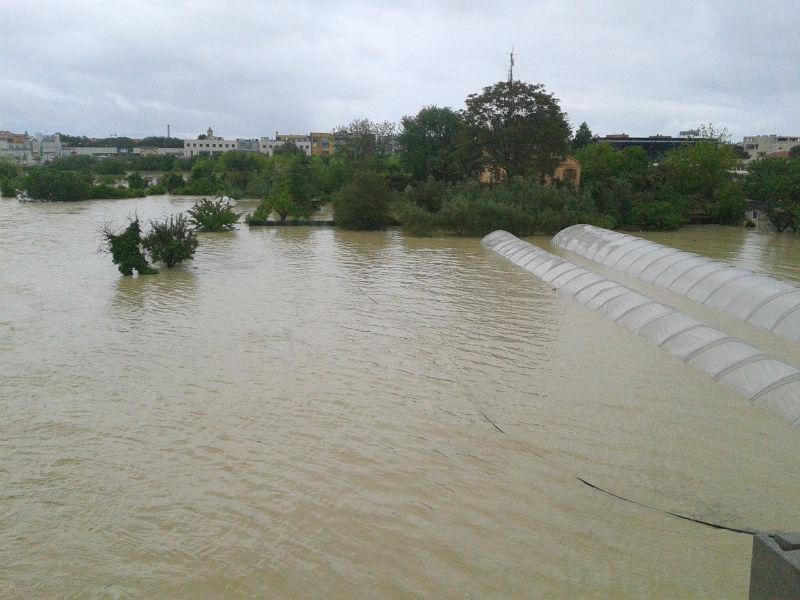 Senigallia durante l'alluvione del 3 maggio 2014: i campi tra Borgo Molino e Borgo Coltellone