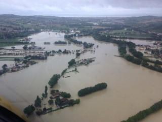 Alluvione a Senigallia: la valle del Misa allagata