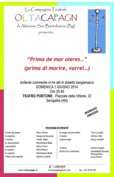 """locandina """"Prima de mor, oleres... """" - Teatro Portone"""