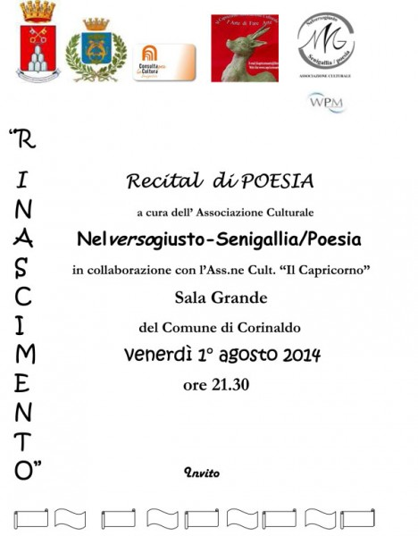 "locandina recital di poesia ""Nelversogiusto-Senigallia"