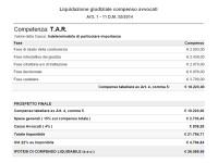 La tabella per la liquidazione degli avvocati (a norma di legge del calcolo basato sulla tariffa minima per causa di fronte al Tar di valore indeterminato di particolare importanza)