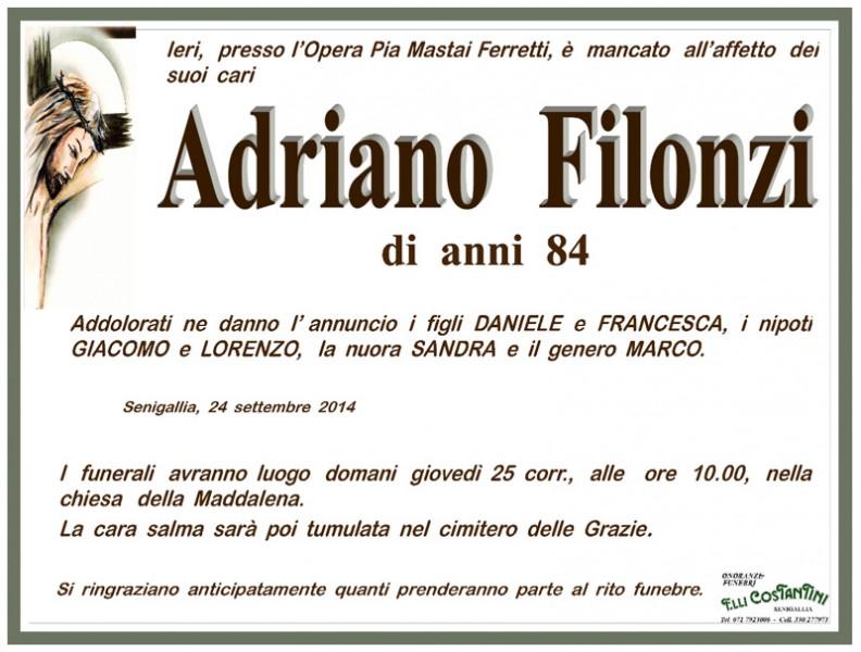 Manifesto funebre per Adriano Filonzi