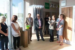 I soci durante l'inaugurazione del negozio Xilema ad Ancona