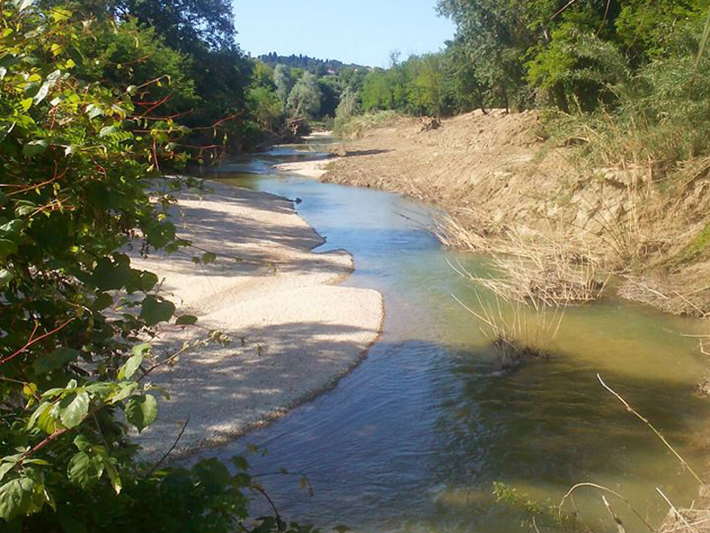 Il fiume Misa a Senigallia, all'altezza di Borgo Bicchia