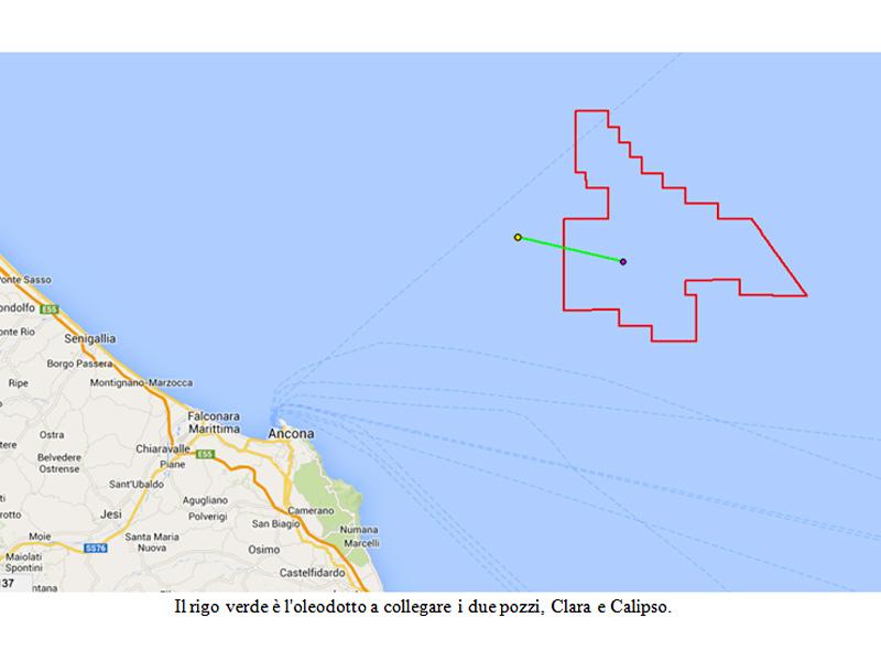 mappa dell'oleodotto per la trivellazione petrolifera davanti alle coste di Senigallia, nel mare Adriatico
