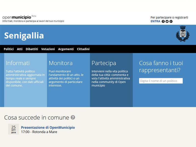 screenshot del sito web senigallia.openmunicipio.it