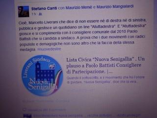 Il messaggio di stato di Stefano Canti su Facebook