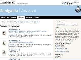 Schermata di OpenMunicipio con le votazioni in consiglio a Senigallia