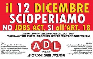 locandina per lo sciopero del 12 dicembre ad Ancona dell'Associazione Diritti Lavoratori - Cobas Marche