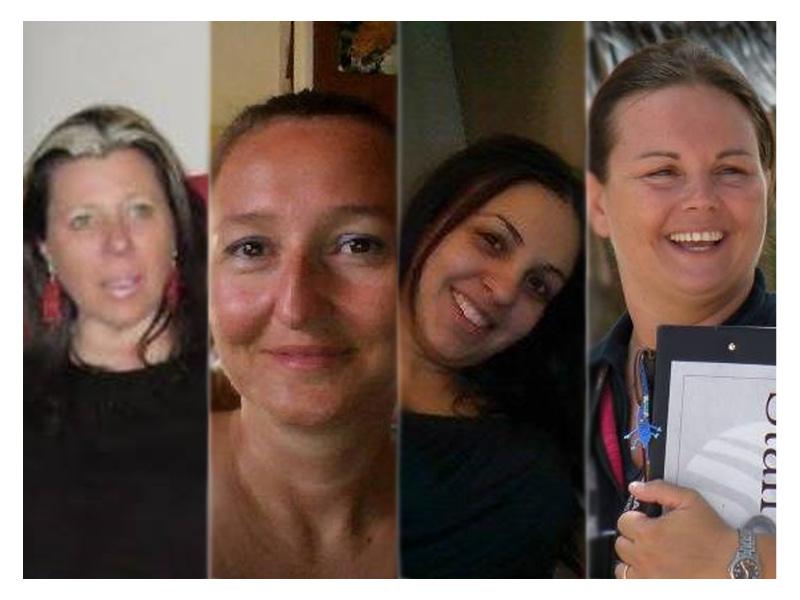 Le quote rosa nella squadra di Nuova Senigallia. Da sx. Viviana Brunetti, Barbara Bolletta, Catia Papa, e Silvia Tomassoni