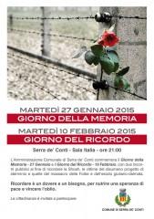 Locandina per le iniziative pubbliche a Serra de' Conti per la giornata della memoria e il giorno del ricordo