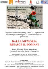 Locandina per la Giornata della memoria a Corinaldo