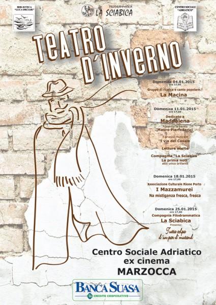 locandina della rassegna Teatro d'inverno promossa dalla Filodrammatica La Sciabica di Senigallia