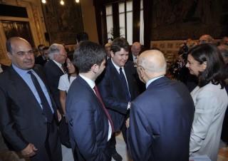 L'incontro tra Emanuele Lodolini e Giorgio Napolitano, accompagnati da Laura Boldrini