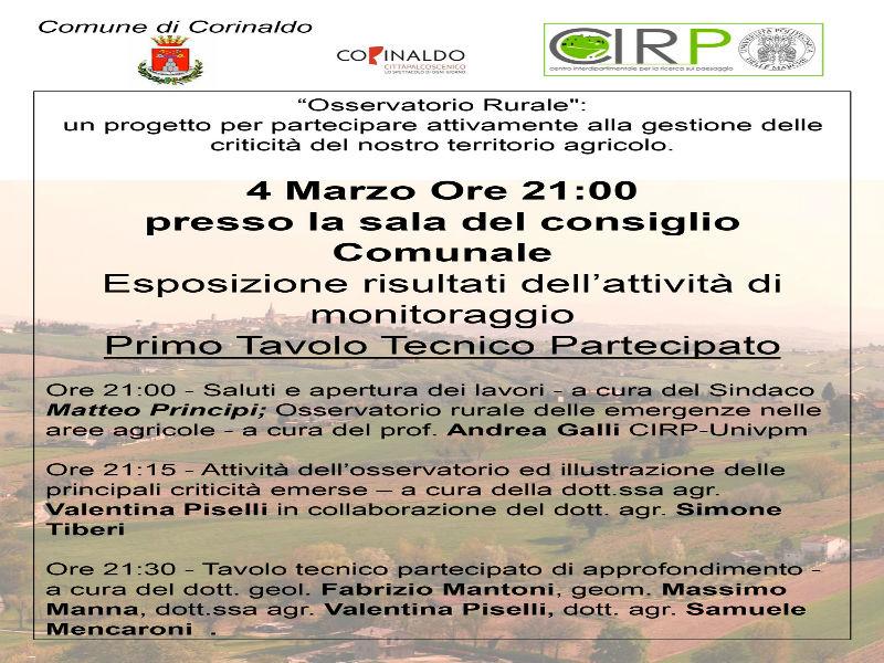 """""""Osservatorio rurale"""": manifesto incontro 4 marzo"""