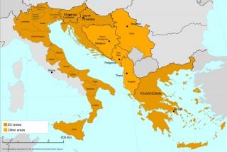 cartina della Macroregione Adriatico Ionica
