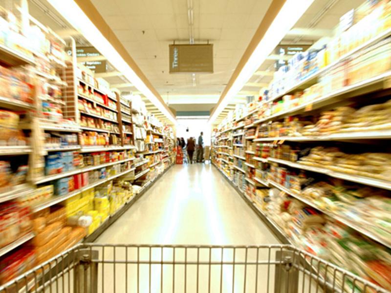 supermercato, merce, acquisti, scaffali, prodotti