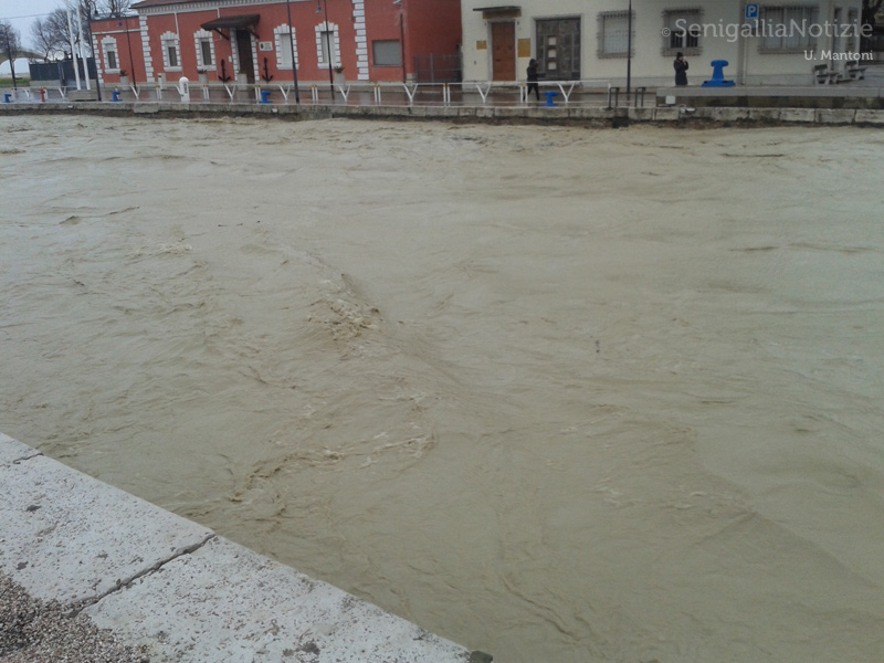 Maltempo a Senigallia: fiume Misa in piena