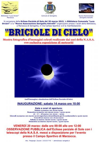 """Locandina dell'iniziativa """"Briciole di cielo"""" della NASA a Senigallia"""