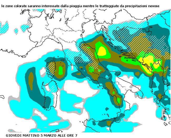La situazione del maltempo nel centro Italia, nella mattinata del 5 marzo 2015
