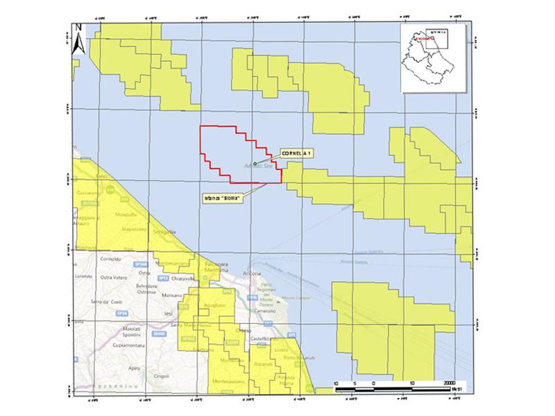"""La mappa dell'area per lo stoccaggio di Co2 """"Sibilla"""""""