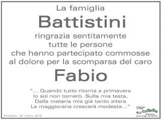 Manifesto di ringraziamento della famiglia Battistini