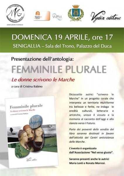 locandina di presentazione dell'antologia 'Femminile Plurale'