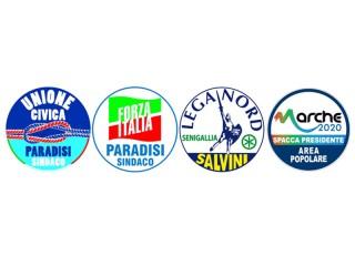 I loghi della coalizione a sostegno di Paradisi e Rebecchini