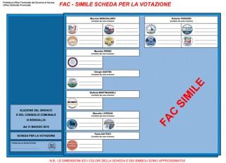 Il fac-simile della scheda elettorale per le elezioni comunali del 31 maggio nella città di Senigallia