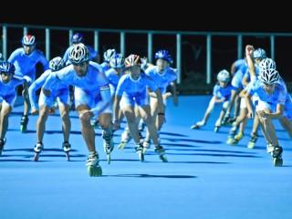 Atleti Team Roller al pattinodromo di Senigallia