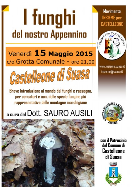 Volantino dell'incontro sui funghi a Castelleone di Suasa