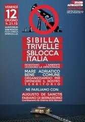 locandina dell'incontro su Sibilla e trivellazioni nel mare Adriatico promosso dai comitati di tutela