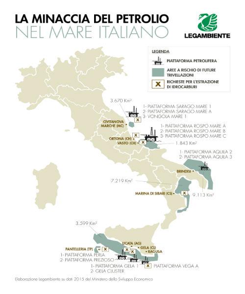 Trivellazioni in Italia, mappa