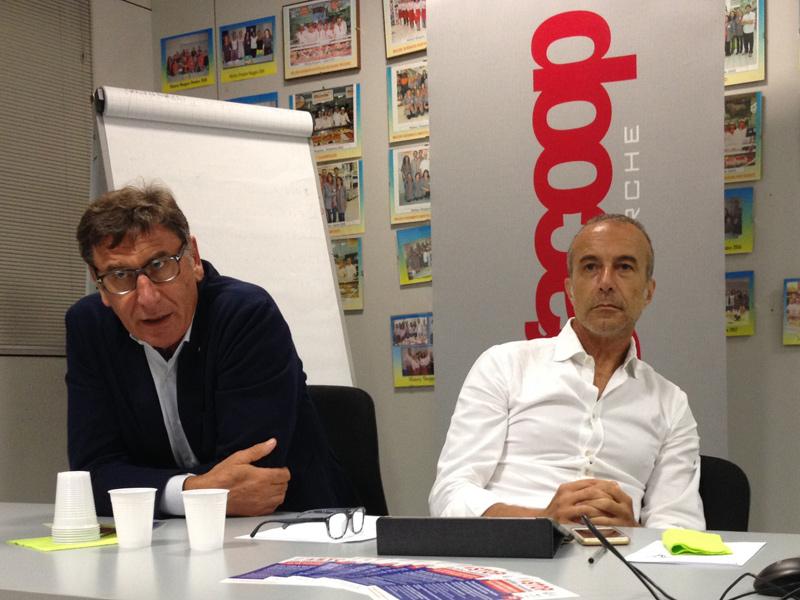 Il presidente nazionale Legacooop Mauro Lusetti e il presidente di Legacoop Marche, Gianfranco Alleruzzo