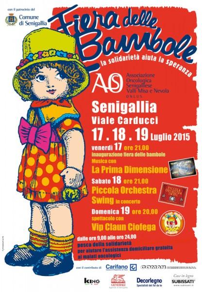 """manifesto della """"fiera delle bambole"""", in via Carducci, a Senigallia, edizione 2015"""