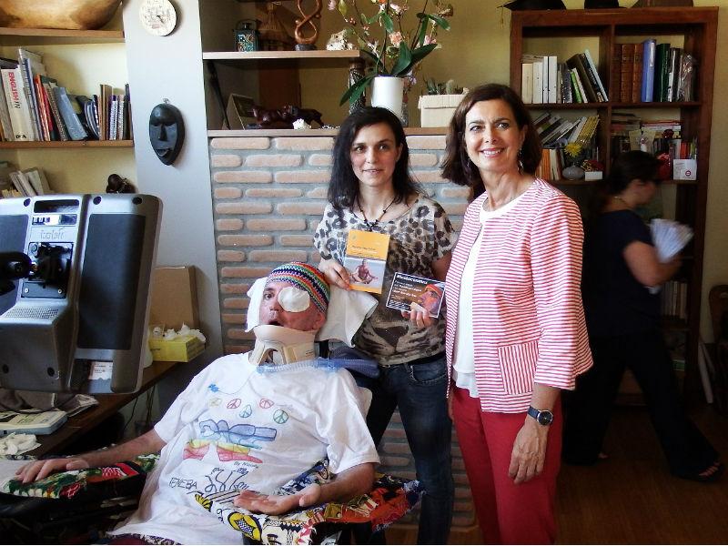 visita della presidente della Camera Laura Boldrini presso l'abitazione di Max Fanelli