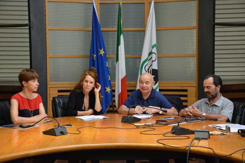 Presentazione in Regione Marche di Nottenera 2015: da sx Pamela Ventura, Sabrina Maggiori, Enzo Giancarli, Arduino Tassi