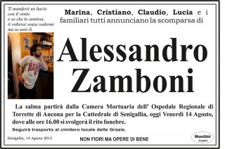 Necrologio Alessandro Zamboni