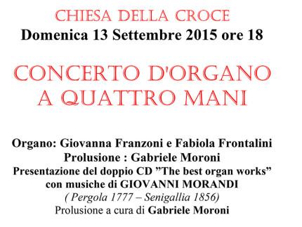 """Concerto d'organo """"A quattro mani"""" alla Chiesa della Croce"""