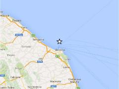 Mappa del terremoto del 1° ottobre 2015 al largo di Ancona