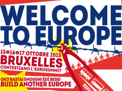 locandina delle contestazioni all'eurosummit a Bruxelles