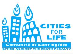 """logo """"Cities for life"""", l'iniziativa della Comunità di S.Egidio contro la pena di morte"""